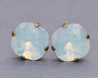 Swarovski White Opal Cushion Studs,Large Cushion Cut Rhinestone Post Earrings,Swarovski Opal Earrings,Bridal,Weddings,Everday,12mm Stud
