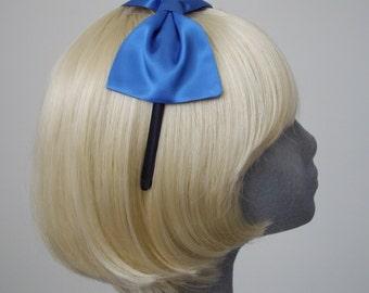 Blue Headband, Blue Bow Headband, Royal Blue Satin Bow Headband, Blue Bow Aliceband, Blue Hair Bow, Blue Hair Accessories