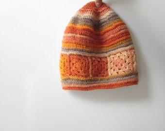 Orange Hat Handmade Knit Crochet Autumn Fall Winter Accessories Teracotta Grey Ecru Vanilla Christmas Gift designed by dodofit on Etsy