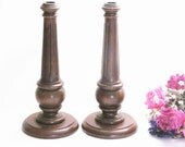 Vintage Wood Candlestick Holders ,Candle Holders ,Tall Wood Candle Holders