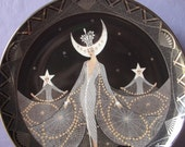 Vintage Royal Doulton collectible plate, House of Erte Queen of the Night Plate, 1995, Silver and black Art deco plate, Porcelain plate