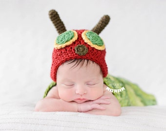Ready-to-ship Newborn Very Hungry Caterpillar Hat & Cocoon Sack Set Photo Prop SALE