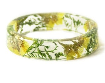 Bracelet -Real Flowers  - Real Flower Jewelry- Flower Jewelry - Yellow Flower Jewelry-  Jewelry made with Real Flowers