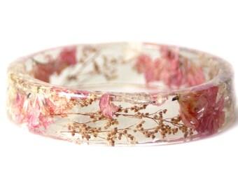 Bracelet -Real Flower Jewelry- Flower Jewelry- Jewelry with Real Flowers- Pink Flowers- Brown Bracelet -Resin Jewelry- Pink Bracelet