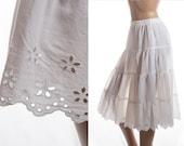 Stylish appealing multi-layer ivory white sheer soft nylon and broderie anglaise 1980's vintage longer length petticoat crinoline - 3373