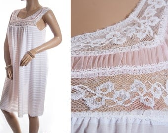 Adorable sheer double layer soft white self stripe nylon mid length 1960's vintage nightgown with pink underlay and white lace detail - 3366