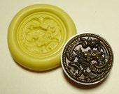 Antique button mold- flexible silicone push mold, Dragon, PMC, Art Clay Silver, fimo, Sculpey, jewelry mold B4