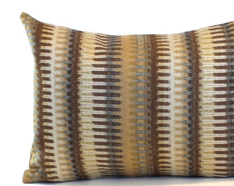 Lumbar Pillow Cover Gold Brown Stripe Upholstery Fabric Decorative Pillow Oblong Throw Pillow Cover 12x24 12x21 12x18 12x16 10x20