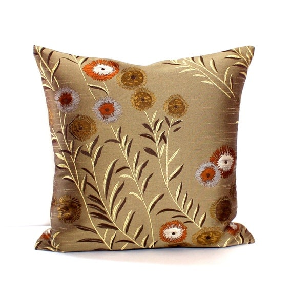 Fabric For Throw Pillow Covers : Bronze Pillow Cover Floral Upholstery Fabric Decorative Pillow