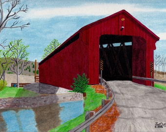 Historic Covered Bridge Print from Original Folk Art Outsider Art Cottage Chic Chabby Chic Ohio Bridge 9 1/2 by 12 Signed Dated Numbered