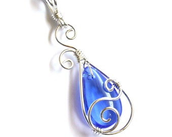 Teardrop Swirl Pendant - Royal Blue Glass Briolette and Silver Wire Wrapped Dangle