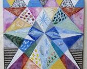 Original Encaustic Painting Geometric original encaustic beeswax painting Free Energy Abstract Earth
