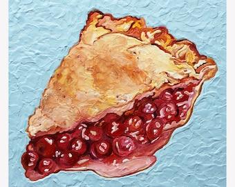 fine art photograph print Encaustic Beeswax Mid Century Cherry Pie Slice Cookbook Retro Wax Painting