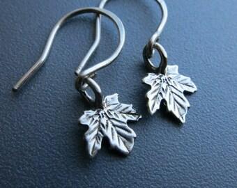 Silver Maple Leaf Earrings ,Sterling Silver Maple Leaf Earrings