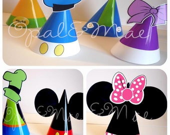 Instant Download -  Clubhouse Mickey Mouse Friends Printable Party Hats