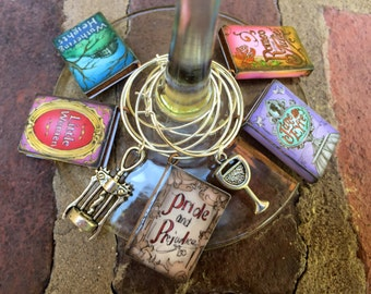 Set of 7  Miniature books classics -  wine glass charms  Book Club book wine lover - Little Women  Pride Prejudice Wuthering Heights -etc
