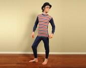 mens vintage pajamas 60s pajamas red blue gray yellow prison jumpsuit striped top Diplomat 1960s pajamas mens vintage small medium Lucky 7