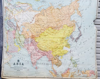 Large Asia Map Retractable Pulldown Classroom School Map Nystrom W & AK Johnston Hanging Wall Decor
