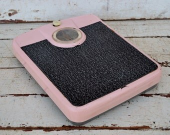 Vintage Pink Bathroom Scale Black Dial Chippy Shabby Mid Century Diet Weight Control Working Scale 1950's