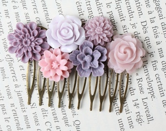 Purple Flower Hair Comb, Purple Wedding Hair Accessories, Bridal Hair Comb, lilac, wedding accessories, made in Canada, shabby chic wedding