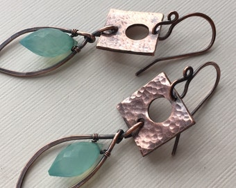 Copper earrings with aqua blue chalcedony- wirewrapped dangle earrings