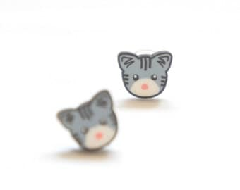 Tiny Handsome Kitty Cat Post Earrings