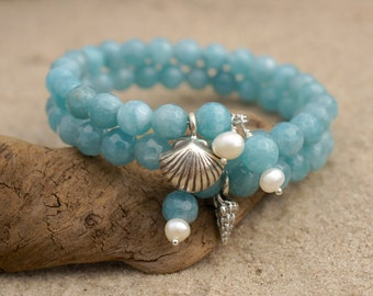 TINY WRIST BRACELET, Ocean Blue Gemstone and Freshwater Pearl Beach Bracelet, Sterling Silver Bangle Wrap Bracelet, Beach Lovers Gift