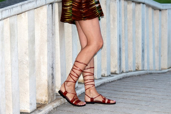 Lace Up Brown Sandals, Tie Up Leather Sandals, Handmade Flat Leather Sandals, Gladiator Sandals - ROMAN