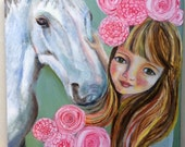 RESERVED FOR SJ Original Children's Painting-16 x 16.Mixed Media Girl and Horse, White Horse,Childrens Wall Art, New Baby, Pastel, Oil