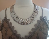 SALE - Vintage Antique Silver Tone Egyptian Style Metal Link Collar Necklace