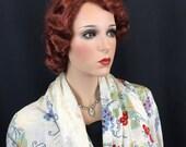 Vintage Antique 30s Shawl Cape Ivory Silk Piano 1930s Vamp Flapper Wedding Art Fringe Gatsby