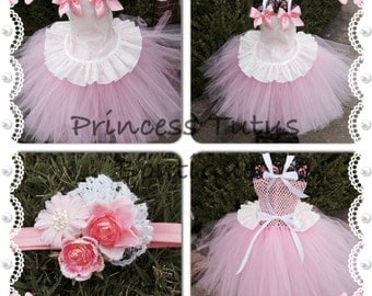 Little Bo Peep Inspired Costume (Tutu, apron overlay and headband only) Great for Christmas Photos, Halloween Costume and much more