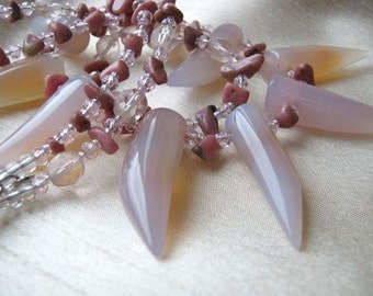 Soft pink spikes necklace - ADJUSTABLE, natural stone, double-strand, statement necklace, tribal