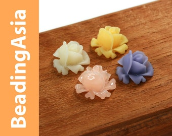 16pcs Resin Cabochons Flower Rose 12mm Assorted Colors (652-039L)