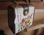 nwt vintage whidby purse, wood and rafia, gorgeous unused purse