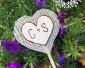 Rustic cake toppers, burlap cake topper, wooden heart bride and groom initials, custom, personalized
