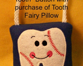 Baseball Tooth Fairy Pillow & Free Button, plush,embroidered comes with Lost my Tooth button
