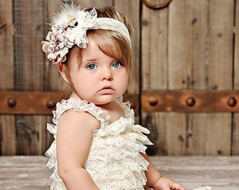 CAMEO COUTURE Pastel Ivory Rosette Lace Headband & Lace Petti Romper 2 PC. Set  1st 2nd 3rd Birthday Photo Prop