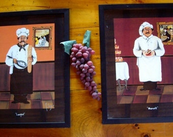 Vintage French Chefs Framed in Black Set of Two Made USA 90s