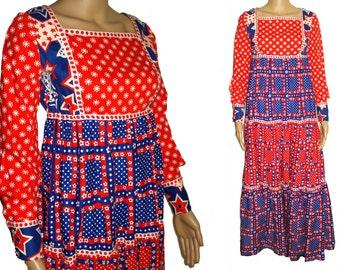Vintage 1960s Dress . Maxi . Bohemian  , Red . White . Blue . Cotton . Patriotic  .  Embroidered  Goddess .  Boho  .  Wedding  Gown
