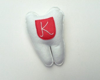 Tooth Fairy Pillow. Embroidered Initial. Coral Pocket Tooth Pillow. Custom Color and Initial Option. Put Under Your Pillow.