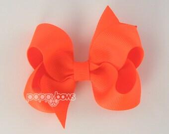 Girls Hair Bows - neon hair bow - neon orange hair bow - girl hairbows - toddler hair bows - baby hair bow - 3 inch bows - boutique bows