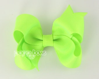 Neon Green Hair Bow - 3 Inch Boutique Hair Bow - Baby Toddler Girl - Solid Color Non Slip Alligator Clip Bright Neon