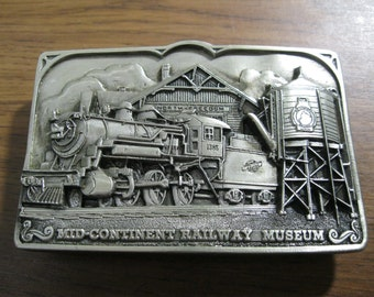 Mid Continent Railway Museum Belt Buckle Railroad Locomotive Steam Engine Free US Shipping