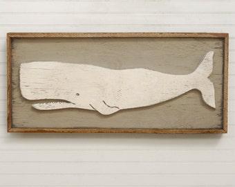 Folk Whale Art Coastal Decor Rustic Whale Wooden White Whale Art Reclaimed Frame
