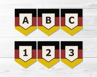 German Flag Banner Set -- Schwarz Rot Gold, Black Red Gold, Flag of Germany, Oktoberfest, Deutsch, Deutschland, Printable, Instant Download