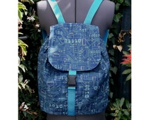 circuit board print backpack rucksack large bag -  adjustable straps and click lock front