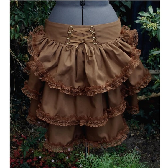 steampunk bustle skirt with matching lace high low hem and back corset style lacing. any size any colour