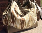 Large Tote Bag Handbag / Ikat Shoulder Bag / Genuine Rustic Leather / Swoon Patterns Charlotte City Tote