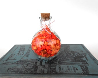 Orange Origami Star Potion in a Bottle